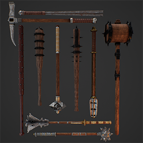10 highly detailed medieval weapons, includes 2 clubs, 6 maces and 2 hammers.