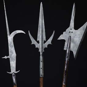This pack contains 20 medieval weapon meshes with customizable materials