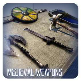 A collection of Medieval Weapons. Optimized for Consoles or Mobile.