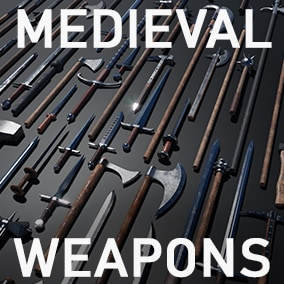 Large pack of medieval/fantasy weapons with Swords, Axes, Knives, Spears etc.