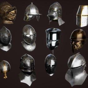 15 medieval helmets and balaclava.