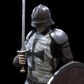 Low-poly realistic model of medieval infantryman with little customization