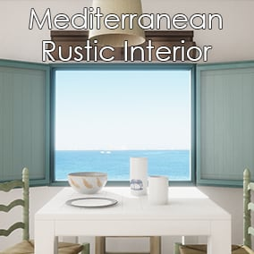 A Mediterranean Rustic Interior Scene made with 47 meshes and 35 materials.