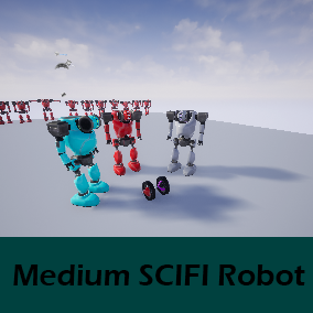 Medium SCIFI Robot, with Multiple LOD (Tris), and extra Robot.