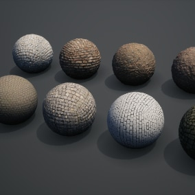 Megascans: Cobblestone is a collection of fully tileable materials physically based with scanned and calibrated values for standardized use in any application.