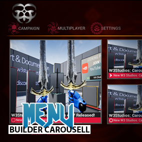 A Main Menu Carousel kit for your game plus Dynamic Background, & Basic Game User Settings ready to go.