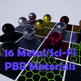 A pack of 16 modular PBR metal and Sci-Fi materials.
