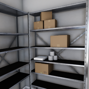 Useful metal shelves and boxes to create a warehouse with no effort.