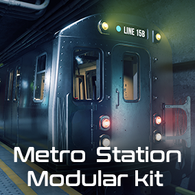 Metro station modular kit. Environment looks like it was built in the 1960s, but under renovation process in modern times.