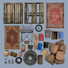 AAA quality Middle Eastern props including wood, fuel tank, tires and more in 2K-4K textures.