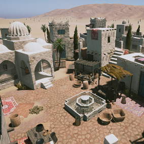 Middle Eastern Town assets, complete with houses, walls, foliage, landscape and smaller decoration elements for both modern and ancient times