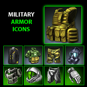 Set of 161 hand drawn military armor icons.