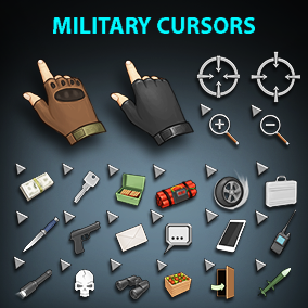 Set of 82 hand drawn military cursors
