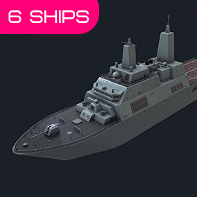 This package contains 6 military ships: patrol ship, cruiser, submarines, boat, transport. Perfect for use in RTS, naval action-themed games and in cinematic scenes.