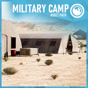 A set of modular military  tents and accessory props
