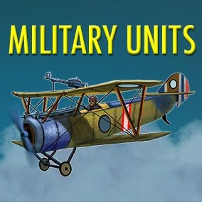 Collection of stylized, hand-drawn military units, from ancient ages to modern eras: 100 units including aerial, melee, ranged, naval and more conveniently classified by type and covering a wide array of uses.