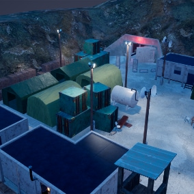 With this constructor, you can build your own military bunker and base as well as the asset includes modular details, props, such as beds, tables ,chairs, barrels etc