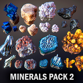 Here you can find eight kinds of different minerals, each kind contain three meshes.