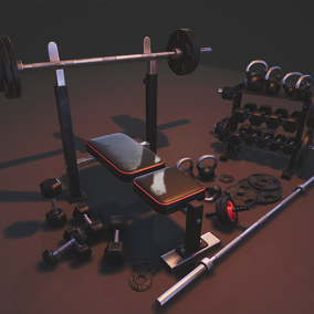 A small pack of assets to decorate the corner of a room or apartment, or maybe a training arena.