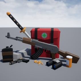 Pack containing over 100 low-poly props to help you get started on survival game project