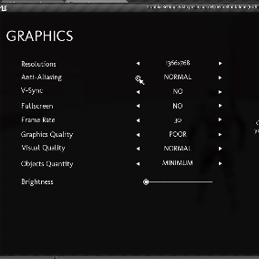 Graphics menu with the most necessary options