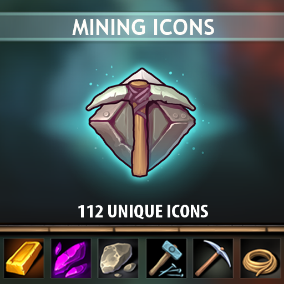 A set of 112 hand drawn Mining Icons.