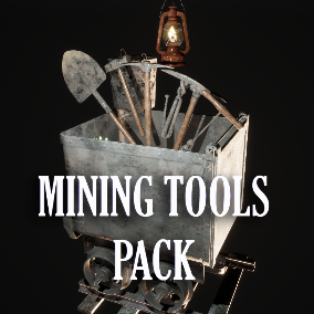 Pack containing several mining tools, ore types and modular props