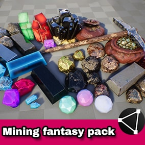Ores, ingots, gems, purses, minerals, crystals for a fantasy game