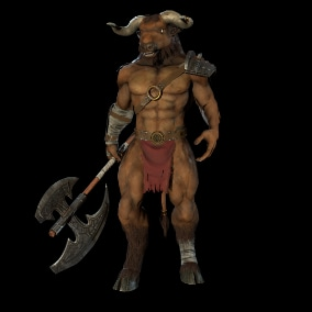 Low-poly character Minotaur