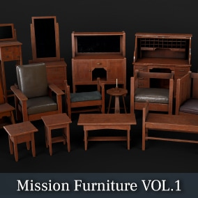 A collection of Mission style furniture with high-quality PBR textures sets.