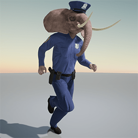 Stylized humanoid elephant - policeman character.  Rigged to Epic skeleton.