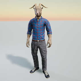 Stylized humanoid goat character. Low polygon model. Rigged to Epic skeleton.