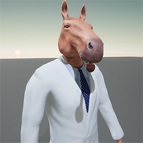 Stylized humanoid horse character. Low polygon model. Rigged to Epic skeleton.