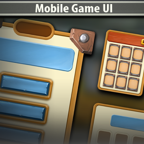 Mobile Game UI is a complete art set of UI components, icons, buttons.