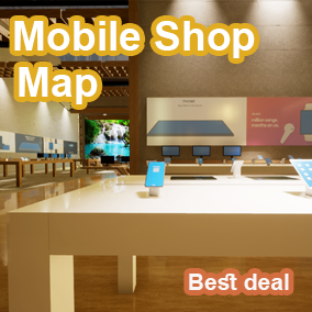 Mobile shop level design was created as AAA low poly quality visuals, and design.