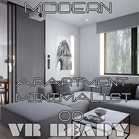 Modern minimalist apartment. Design with 6 functional areas including: Entry- Bathroom- Kitchen- Working Space - Livingroom- Bedroom. With walking customizations with footsteps sound and perspective switches.