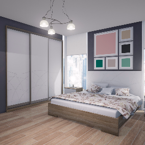 Visualization of bedroom in Modern style. Furniture internal filling. Decor.