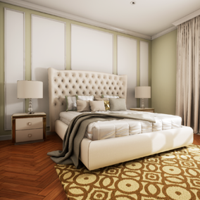 High quality archviz interior in modern classic style.