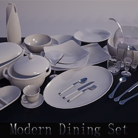 Modern dining set of dishes, glasses, plates and cutlery for any type of 1st to 3rd person game.