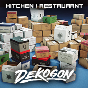 A collection of food shipment boxes found in a Modern Kitchen/Restaurant