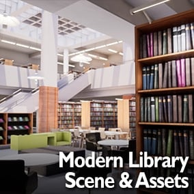 Interior of a modern library usable in multiple situations.