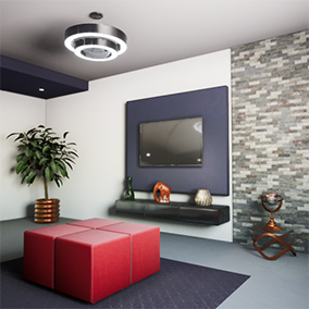Realistic architectural visualization of a modern living room.
