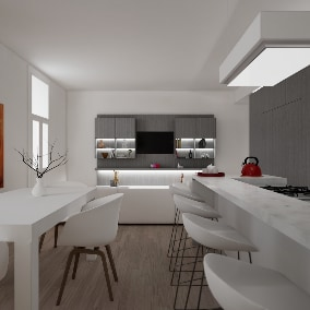 Realistic architectural visualization of a modern Living Room and Kitchen.