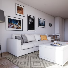 High quality modern complete interior scene with 50 different objects.