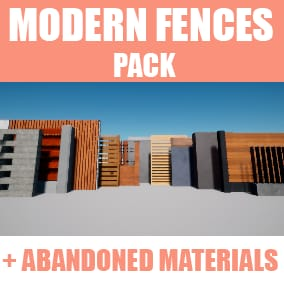 Pack of 12 modular modern fences with material variations, including abandoned materials