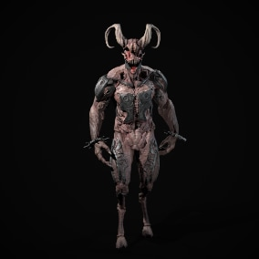 Low-poly 3D model of modified demon. Rigged with Epic Skeleton. 3 color variation