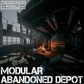 A set of modular elements and props for creating industrial architecture and the interior environment of an abandoned depot.