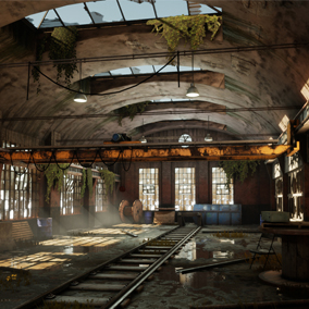 A small set of modular assets useful for creating old and abandoned factory or warehouse environments.