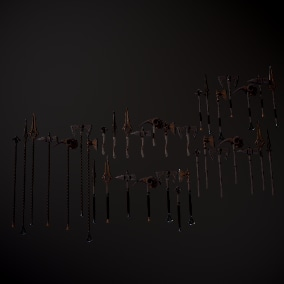 A set of 16 modular pieces that will allow you to make high detail, high quality fantasy weapons.