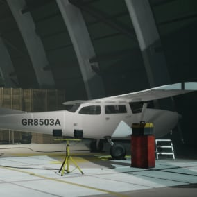 A modular hangar with an interior consisting of vehicles, warehouse props, floor markings and aircraft parts. Suitable for creating any type of warehouse or aircraft hangar.